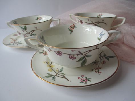 Vintage Royal Worcester Blossom Time Floral Cream by thechinagirl
