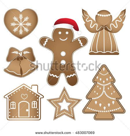 Gingerbread Christmas Cookies Icon Buy This Vector On Shutterstock