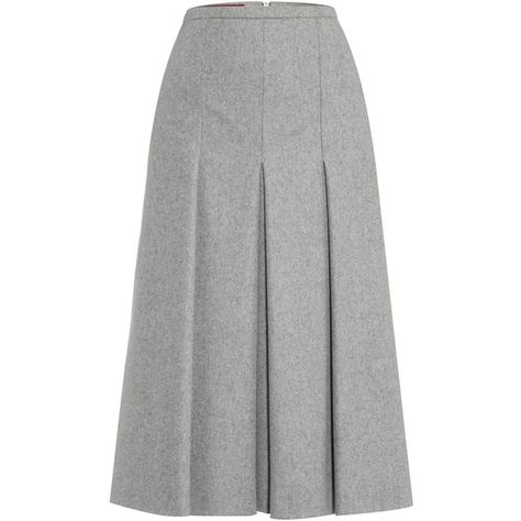 0755e33e07 Max Mara Accenni wool pleated skirt ($245) ❤ liked on Polyvore featuring  skirts, light grey, women, woolen skirt, knee length pleated skirt, maxmara,  ...