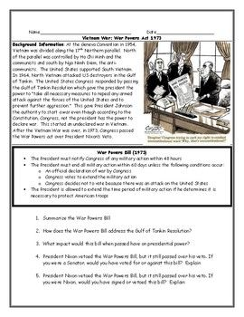 War Powers Act Vietnam War Worksheet With Answer Key With Images