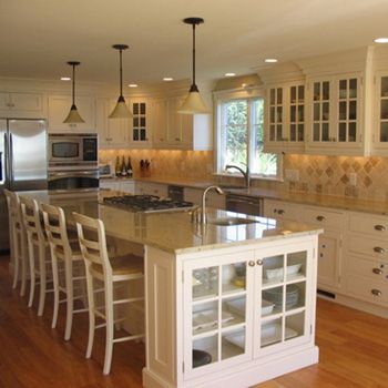 L Shaped Kitchen With Island The Sinks And Seamed Quartz On Shape Home Sweet Remodel