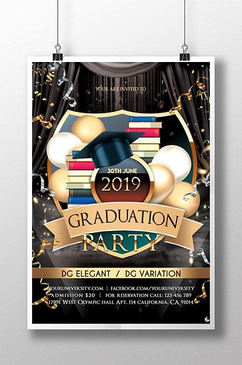 Realistic Golden Graduation Poster Party Poster Invitation Card