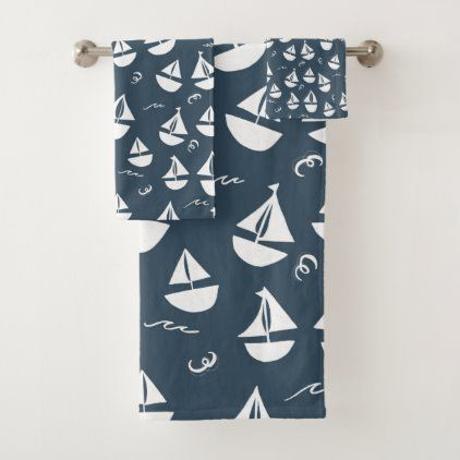 Sailboats Pattern Navy Blue White Bath Towel Set Zazzle Com In