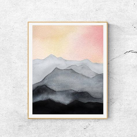 Abstract Mountain Watercolor Print Watercolor Print Mountain Art