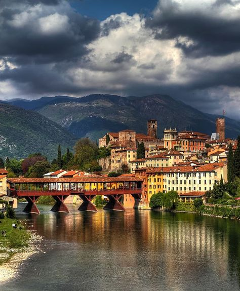 Bassano del Grappa: the heart of Veneto Region whose symbol is the wooden Ponte Vecchio designed by the famous architect Andrea Palladio.