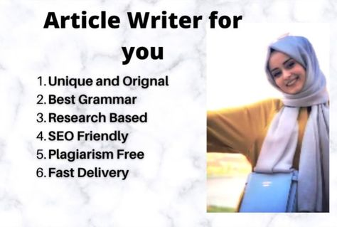 hirajaved999 : I will be your unique SEO article, content writer for $5 on fiverr.com
