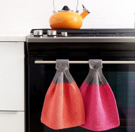 Déco cuisine : essuie-mains au tricot