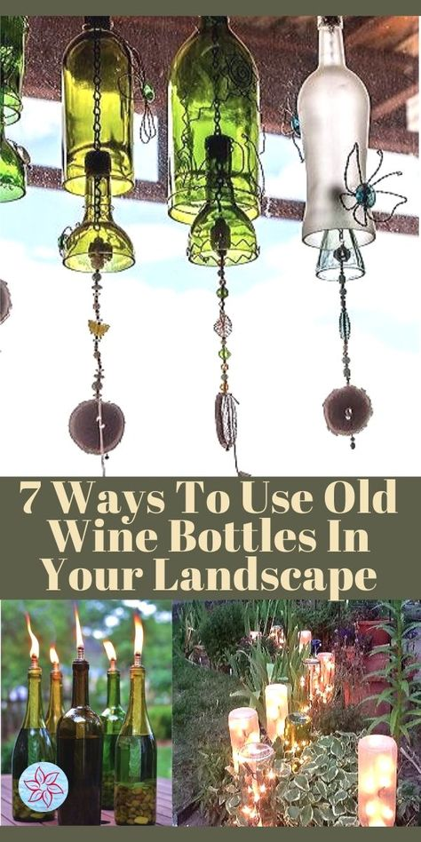 Great ideas to re-purpose your used wine bottles as garden art, edging, tiki torches, and more! We'll show you how! Old Wine Bottles, Recycled Bottles, Bottles And Jars, Glass Bottles, Liquor Bottles, Plastic Bottles, Wine Bottle Garden, Wine Bottle Art, Diy Bottle