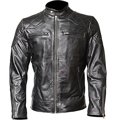 f6ad40077 WONDERPIEL Men's Genuine Leather Jacket Stand Collar - Black ...