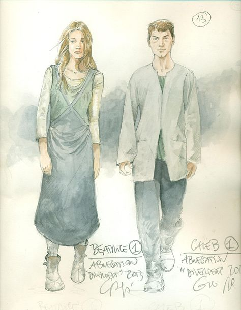 Costume Designer Carlo Poggioli shares sketches from the film. It's funny to me how they're Abnegation and yet the costume designer STILL puts the women in bust-emphasizing clothing. Abnegation did NOT emphasize body parts!