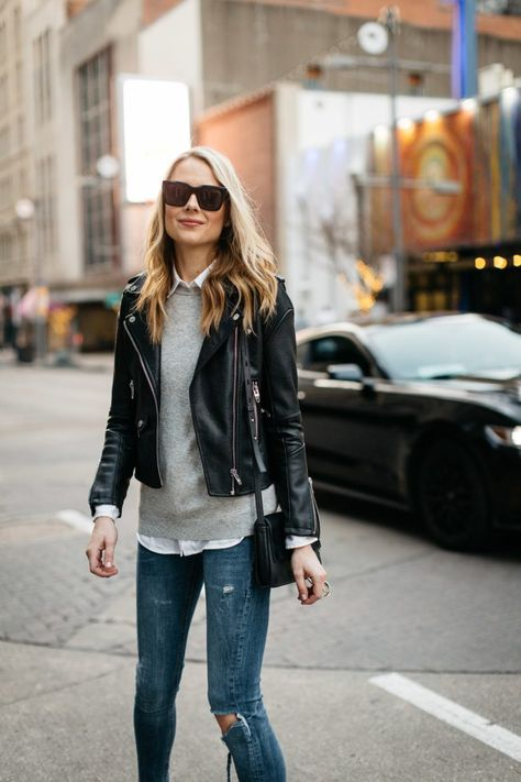 Fall Outfit Winter Outfit Black Leather Jacket Grey Sweater White Button-Down Shirt Denim Ripped Skinny Jeans Denim Shirt Outfits, Grey Sweater Outfit, Grey Leather Jacket, Leather Jacket Outfits, Black Leather, Fall Fashion Outfits, Casual Outfits, Winter Fashion, Jeans Fashion