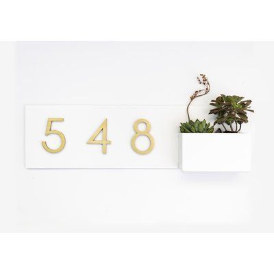 Modern Aspect Vista View 1 Line Wall Address Plaque Background Color White In 2020 Address Plaque Colorful Backgrounds New Homeowner Gift
