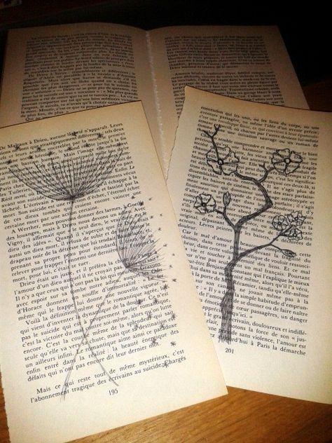 Dessins Sur Pages De Livre Art Page De Livre Dessin Et