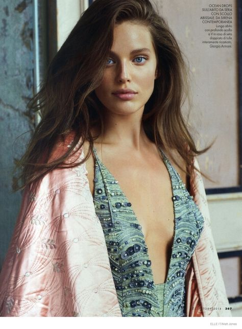 Model Emily DiDonato is a feminine parfait, styled by Alberto Zanoletti in dusty pastels for Elle Italia's October issue. Matt Jones is behind the lens for 'Private Emily'. /Hair by Marco Braca; makeup by Itsuki
