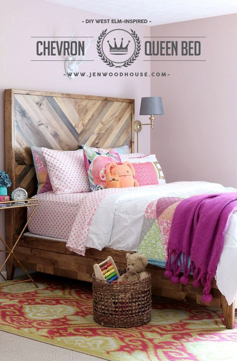 Gorgeous West Elm knockoff chevron bed. Free plans by Jen Woodhouse