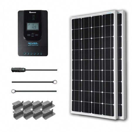 Renogy 200 Watt 12 Volt Monocrystalline Solar Starter Kit With 40 Amp Rover Mppt Charge Controller In 2020 12v Solar Panel Solar Heating Monocrystalline Solar Panels