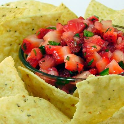One Perfect Bite: Strawberry Salsa--this could be done with baked rice tortillas