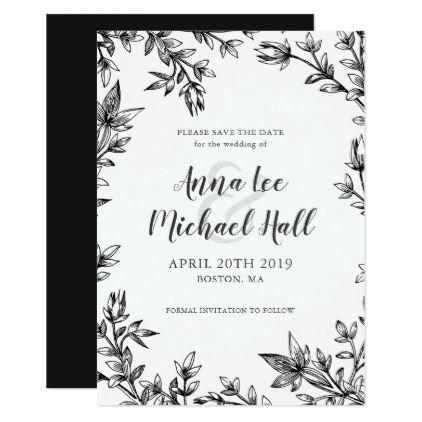Black White Leaves Custom Wedding Save The Date Zazzle