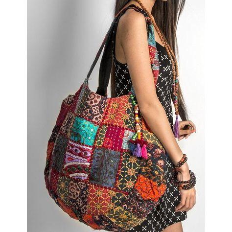 Handmade Handbag Purse Shoulder Beach Bag Tote Boho Patchwork Embroidered Hippie for sale online Hippie Bags, Boho Bags, Bohemian Bag, Bohemian Fashion, Patchwork Bags, Quilted Bag, Mochila Hippie, Sac Vanessa Bruno, Bohemian Schick