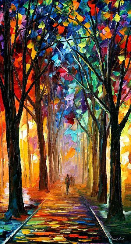 Alley Of The Dream Palette Knife Oil Painting On Canvas By Leonid Afremov Art Print By Leonid Afremov Ekspresionisme Abstrak Lukisan Pohon Seni Abstrak