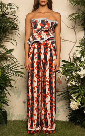 Johanna Ortiz Resort 2017 Curacao Wide Leg Pants $1,150, Striped Dominica Strapless Top and Belt $995
