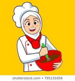 Fantastis 30 Gambar Kartun Koki Hijab Gambar Kartun Bakery Logo Design Cartoon Character Design Food Logo Design