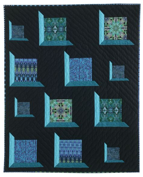 """""""Fenestella"""" quilt pattern by Stephanie Sheridan at Quilters Newsletter (June/July 2013).   This quilt uses the Fabrique-istan collection by Paula Nadelstern for Benartex, set in a classic attic window design"""