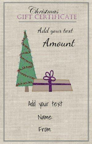 Gift Card With A Fabric Background And A Christmas Tree With A Wr Christmas Gift Certificate Template Christmas Gift Certificate Gift Certificate Template Word
