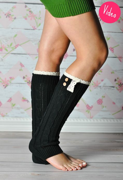Black Braided Leg Warmers with Lace Rim