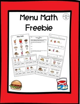 Have You Ever Wanted To Try Out A Menu Math Product Here Is Your Chance This Is A Freebie Included In This Product Is 3 Di Math Worksheet Math Math Freebie
