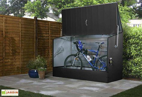 Coffre De Rangement Metal Velos Anthracite 196x89x133 Abri Velo Rangement Metal Coffre De Jardin