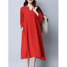 8bad4c612043 Plus Size Vintage Women Cotton Loose Splicing Long Dress | Styles I ❤ |  Fashion dresses, Dresses, Vintage dresses