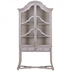 Arched Top Raised Shabby Chic Two Piece Display Cabinet With Glass Front Doors Shabby Chic Cabinet Furniture Chic Furniture