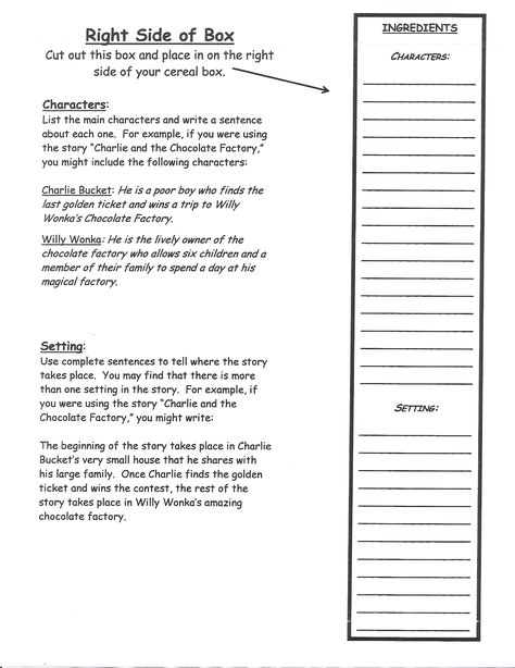 Cereal Box Book Report - cereal box book report sample