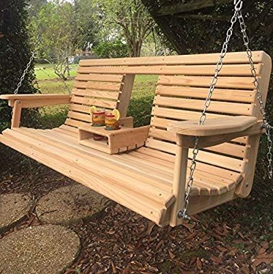 5 Ft Cypress Porch Swing With Flip Down Console Cup Holders Unique Adjustable Seating Angle Hand Porch Swing Adjustable Seating Outdoor Sectional Furniture