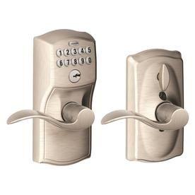 Schlage Fe595 Camelot Satin Nickel Single Pack 1 Cylinder Lighted Keypad Fe595 Cam 619 Acc Door Levers Schlage Keypad Lock
