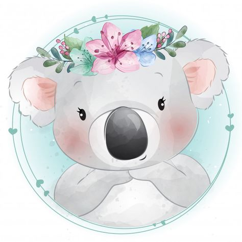Cute Little Koala Bear With Floral Portrait