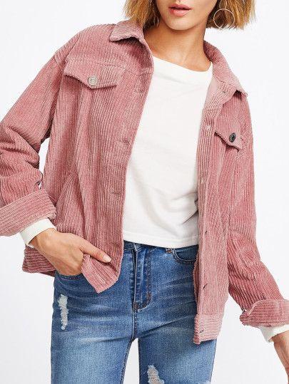 Pocket Front Cord Jacket Shein Sheinside Cordjacke Damen Jacken Damen Jacken