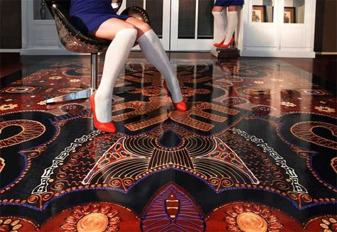 Digitally printed flooring from Off The Wall Creations. Something like this could be great for a dance floor!