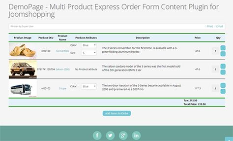 cool Joomshopping Multi Item Express Order Kind Content material - product order form