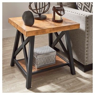 Lanshire Rustic Industrial Metal Wood End Table Oak Inspire