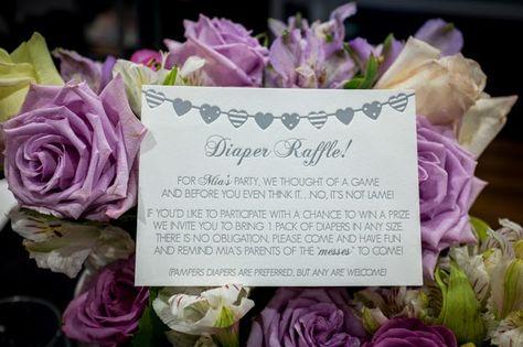 Letterpress Baby Shower Invitations: diaper raffle