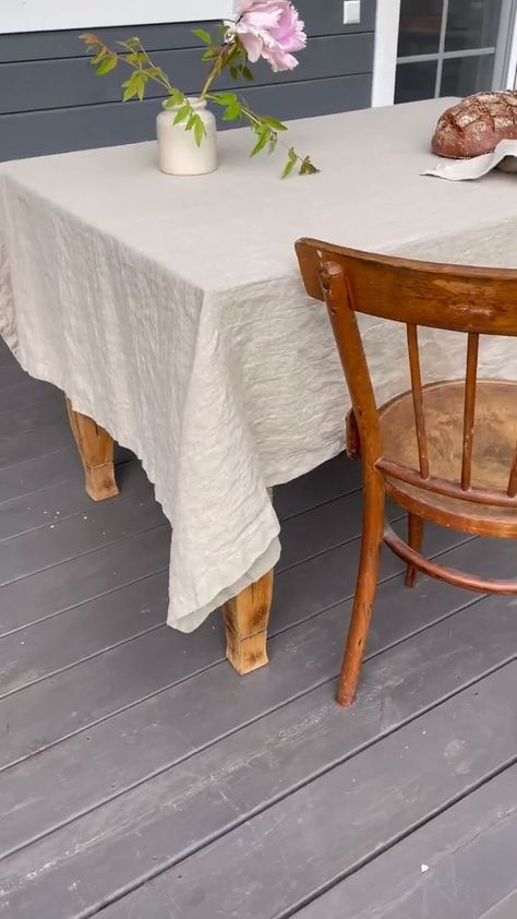 Crisp fall nights deserve a beautiful outdoor dining table. Eco-friendly linen tablecloth adds the perfect touch of warmth and rustic design to your space.