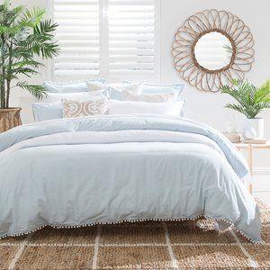Linen Cotton Light Blue Pom Pom Quilt Cover Set Blue And White