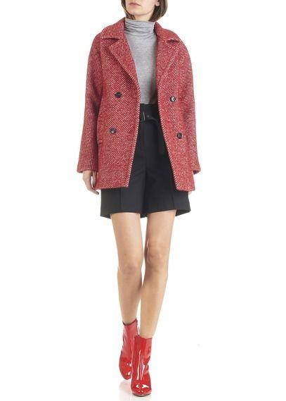caroll manteau rouge
