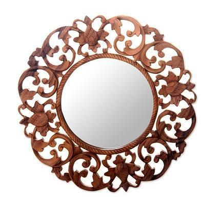 Fl Carved Suar Wood Wall Mirror, Natural Carved Wood Round Mirror