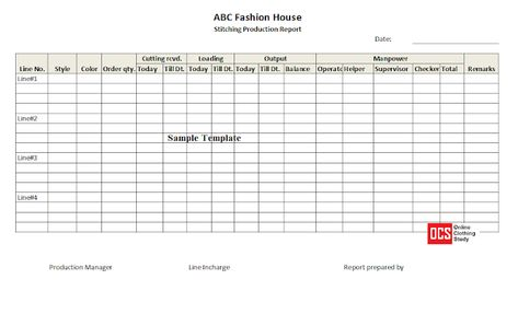 Daily Production Report Excel Template Free Download Excel