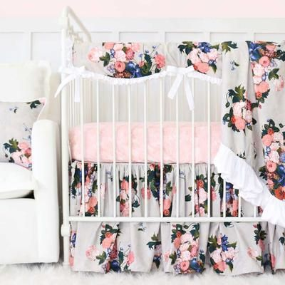 Stella S Taupe Floral Baby Girl Crib Bedding Set Baby Girl