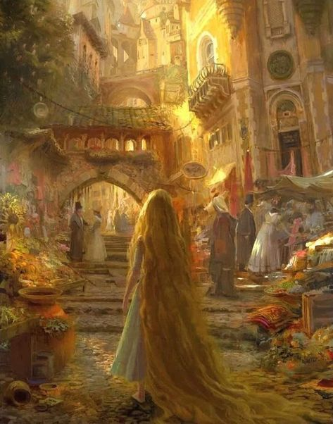 A (very) long study of a Tangled concept art from Craig Mullins. Disney Kunst, Arte Disney, Disney Art, Tangled Concept Art, Disney Concept Art, Fantasy Places, Fantasy Art, Craig Mullins, Renaissance Kunst