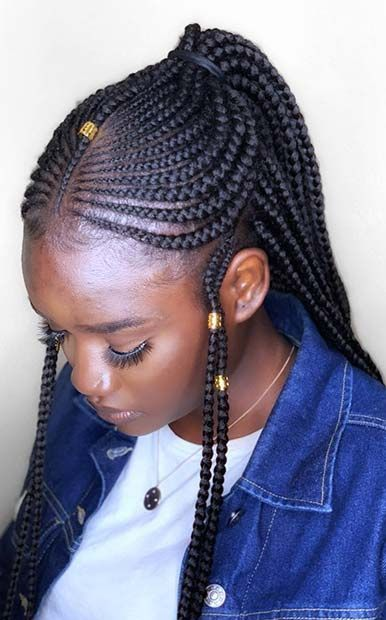 43 Cool Ways To Wear Feed In Cornrows Braided Hairstyles Braids With Beads Hair Styles